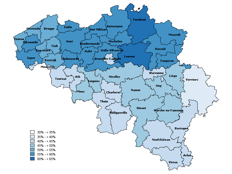 Coverage of vaccination against influenza in people aged 65 years and over, by district (2016)